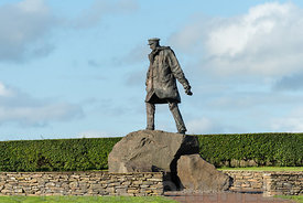 DOUNE, SCOTLAND - AUGUST 23, 2018: Memorial statue of Colonel Sir David Stirling, British Army officer, and the founder of th...