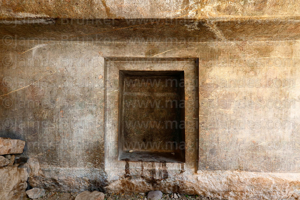 Detail of rock-cut doorway in wall of cave at Ñaupa Iglesia shrine / huaca, Huaracondo Valley, Cusco Region, Peru