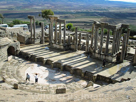 View from the 3rd story of the cavea at the Theatre of Dougga; Tunisia; Landscape