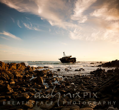 Wreck of the Misho Maru 38 at Cape Agulhas, used by cormorants and other sea birds as a safe roosting ground, rocks in the fo...