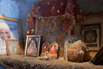 Cotton dust on an altar in a cotton mill in Bharatpur, Rajasthan, India