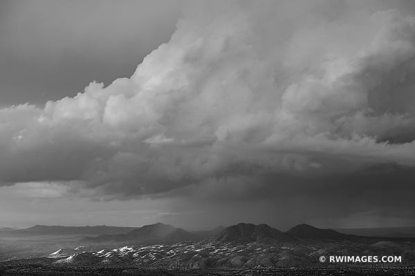 STORMY CLOUDS SUNSET ENCHANTING LIGHT NORTHERN NEW MEXICO LANDSCAPE BLACK AND WHITE