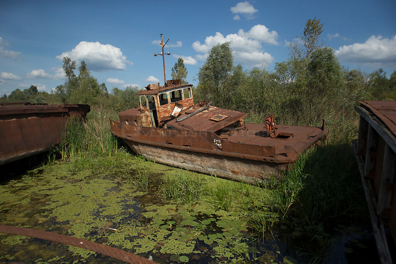 A rusting boat in Chernobyl's docks, Chernobyl Exlusion Zone, Ukraine September