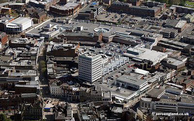 aerial photograph of the Mander Shopping Centre.Wolverhampton WV1 3ET  UK