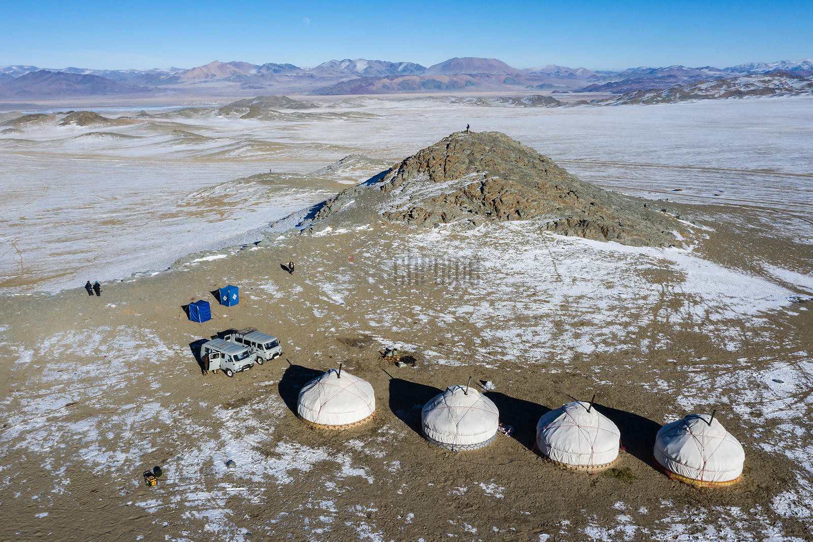 Aerial View of Camp 2  on the Mongolia Migration Tour