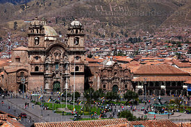 View of  Plaza de Armas with La Compañia de Jesus church and convent, Cusco, Peru