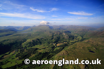 aerial photograph of Eskdale in the Lake District Cumbria England