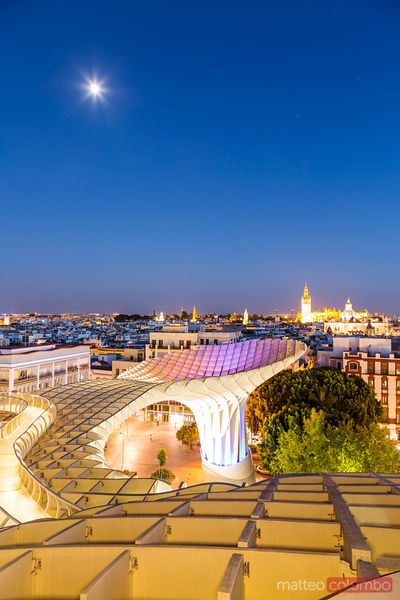 Seville cityscape from Metropol parasol, Andalusia, Spain