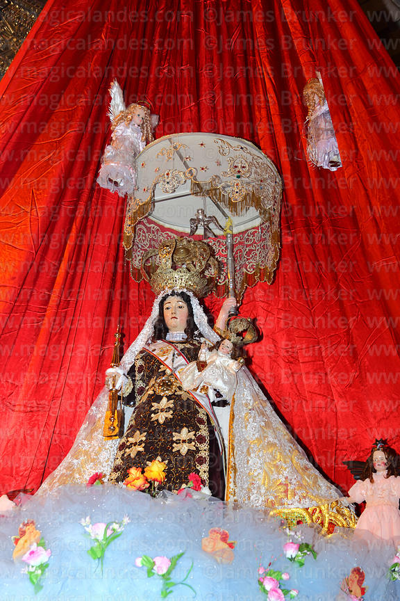 Figure of Virgen del Carmen inside church, Paucartambo , Peru