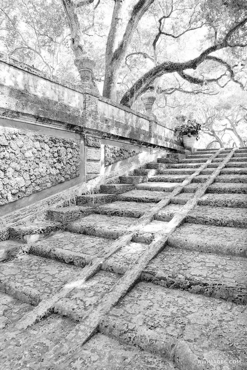 OLD GARDEN STAIRS VILLA VIZCAYA MUSEUM AND GARDENS COCONUT GROVE MIAMI FLORIDA BLACK AND WHITE VERTICAL