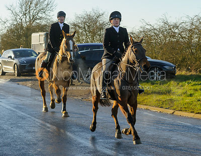 Lucy Butler on Leesthorpe Road - The Cottesmore Hunt at Pickwell Manor 28/12