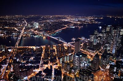 New York City East River Night Lights Aerial