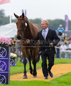 Andrew Heffernan and MILLTHYME COROLLA - The first vets inspection (trot up),  Land Rover Burghley Horse Trials, 3rd Septembe...