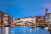 Rialto bridge at dusk, Venice, Italy