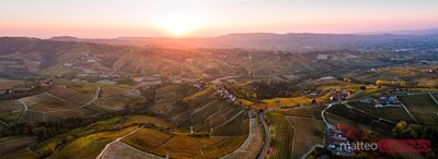 Aerial panoramic over Le Langhe vineyards, Piedmont, Italy