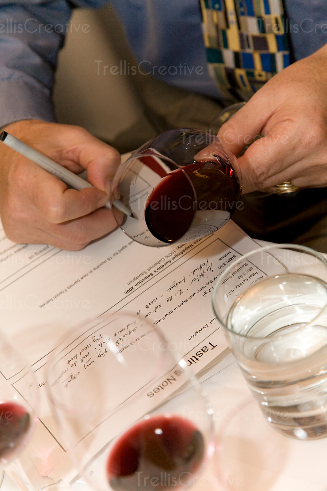 Examining red wine color and clarity and taking notes