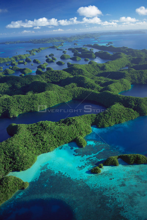 Aerial view of Outer Rock Islands, Palau, Melanesia, pacific ocean islands