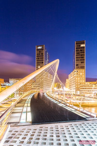 Zubizuri bridge by architect Calatrava at dusk, Bilbao, Spain
