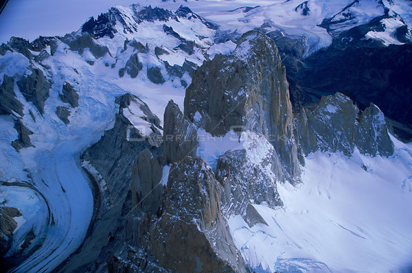 Aerial view of snow capped mountains, Lago Argentina, Argentina 2000