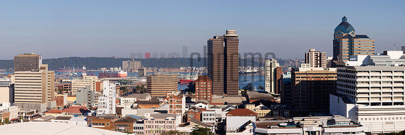 Skyline of the City of Durban from the Berea looking towards the Bluff
