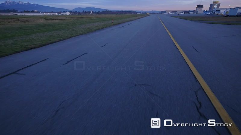 Airplane POV Taxing on a Runway Pitt Meadows Airport BC Canada