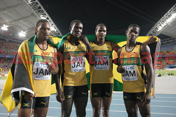 Jamaica's bronze medal winning 4x400 relay team, Allodin Fothergill, Riker Hylton, Jermaine Gonzales and Leford Green