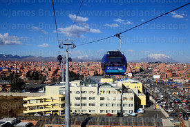 Blue Line cable car cabin above Hospital del Norte, Rio Seco, El Alto, Bolivia
