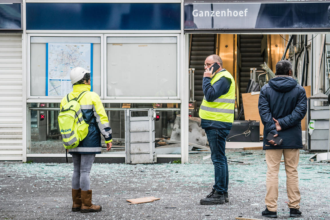 Metrostation Ganzenhoef damaged during attempted robbery with explosives, Amsterdam SouthEast, the Netherlands