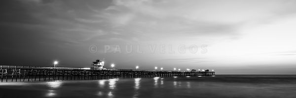 Black and White Panorama Photo of San Clemente Pier
