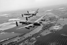 Two Lancasters over the upper Thames black and white version