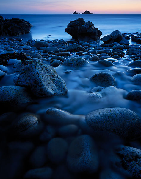 A cool, serene twilight scene at Porth Nanven in Cornwall.