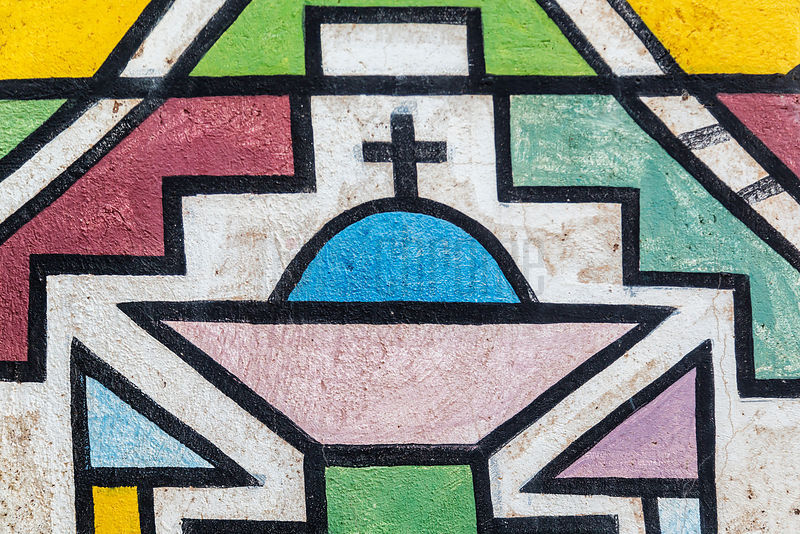 Ndebele Church Motif on Home of Esther Mahlangu (the second)