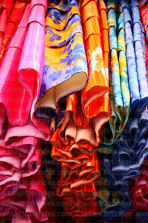 Detail of skirts / polleras for sale in traditional clothes shop, La Paz, Bolivia
