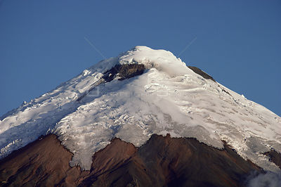 Aerial view of Cotopaxi volcano with snow covered summit, Ecuador
