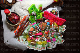 Mesas / offerings for Pachamama with dried llama foetus (suyu) for sale on stall in Witches Market, La Paz, Bolivia