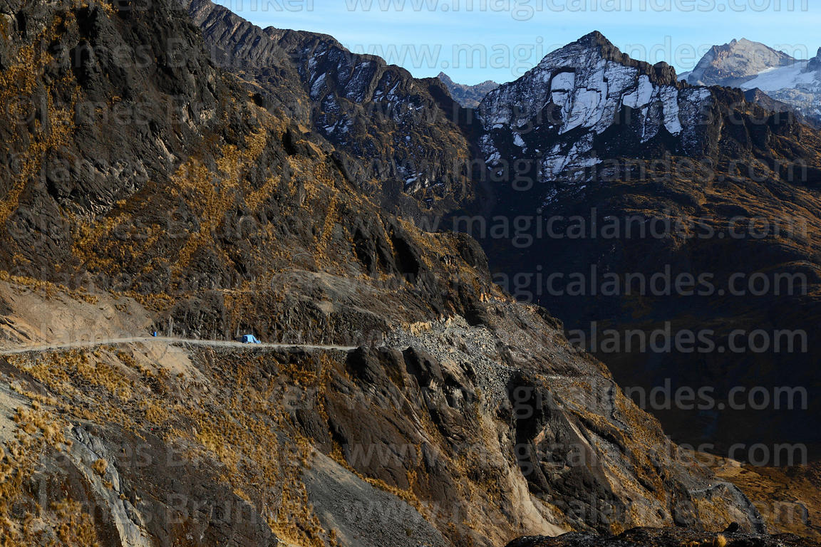 View along El Choro Inca trail showing damage caused by road construction, Cotapata National Park, Bolivia