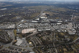 Rochdale high level aerial photograph of the Royal Pennine Industrial Estate looking towards Junction 20 on the M62 motorway