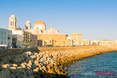 City and harbour at sunset, Cadiz, Andalusia, Spain