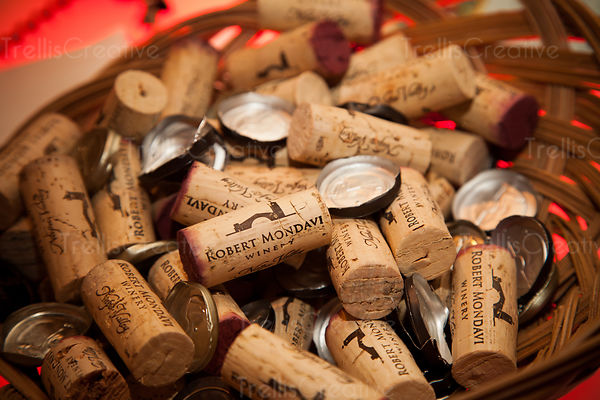 A basket full of wine corks from open bottles at Robert Mondavi winery
