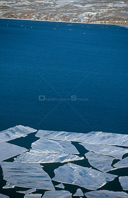 Aerial of sea ice showing some meltwater, Admiralty Inlet, Canadian High Arctic, June 2000