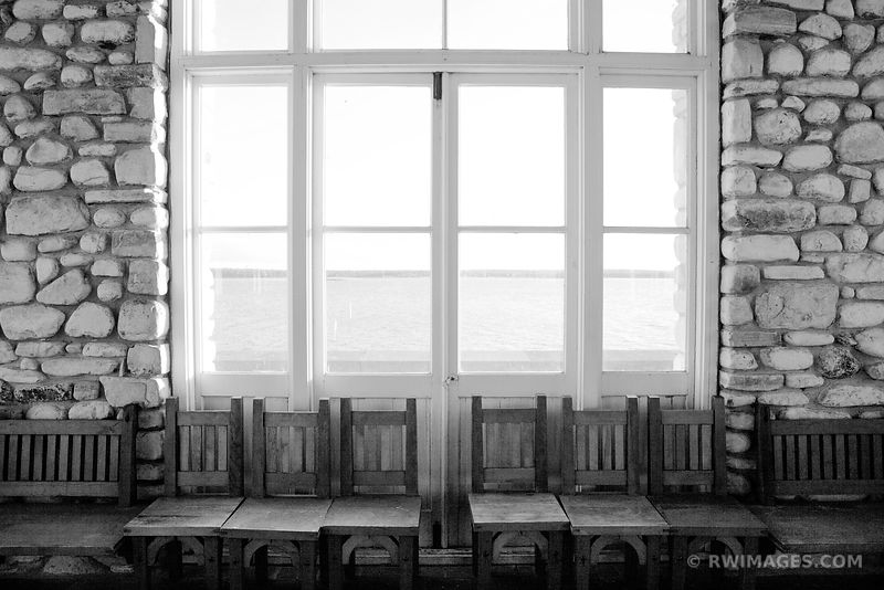 CHESTER THORDARSON'S BOATHOUSE ROCK ISLAND DOOR COUNTY WISCONSIN BLACK AND WHITE