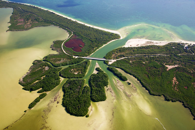 Aerial shot of the Laguna Sian Ka'an, freshwater lagoon, just before entering the sea, close to Boca Paila, Quintana Roo, Yuc...