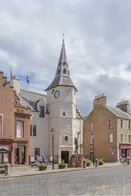 DUNBAR, SCOTLAND - JULY 17, 2018: The Dunbar Townhouse in High Street has been the focus of town life since the 16th century ...