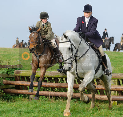 Ned Forryan and Monica Tebbutt-Wheat - The Cottesmore Hunt meet at Oak House, Tilton On The Hill, Saturday 31st October 2015.