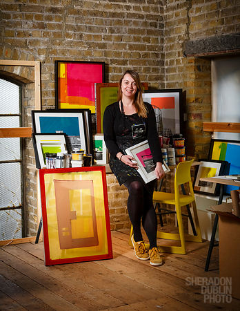 Portrait of Helen Pittman of Charlotte Savage Print, Margate Artist & Screen Printer, for Margate Mercury
