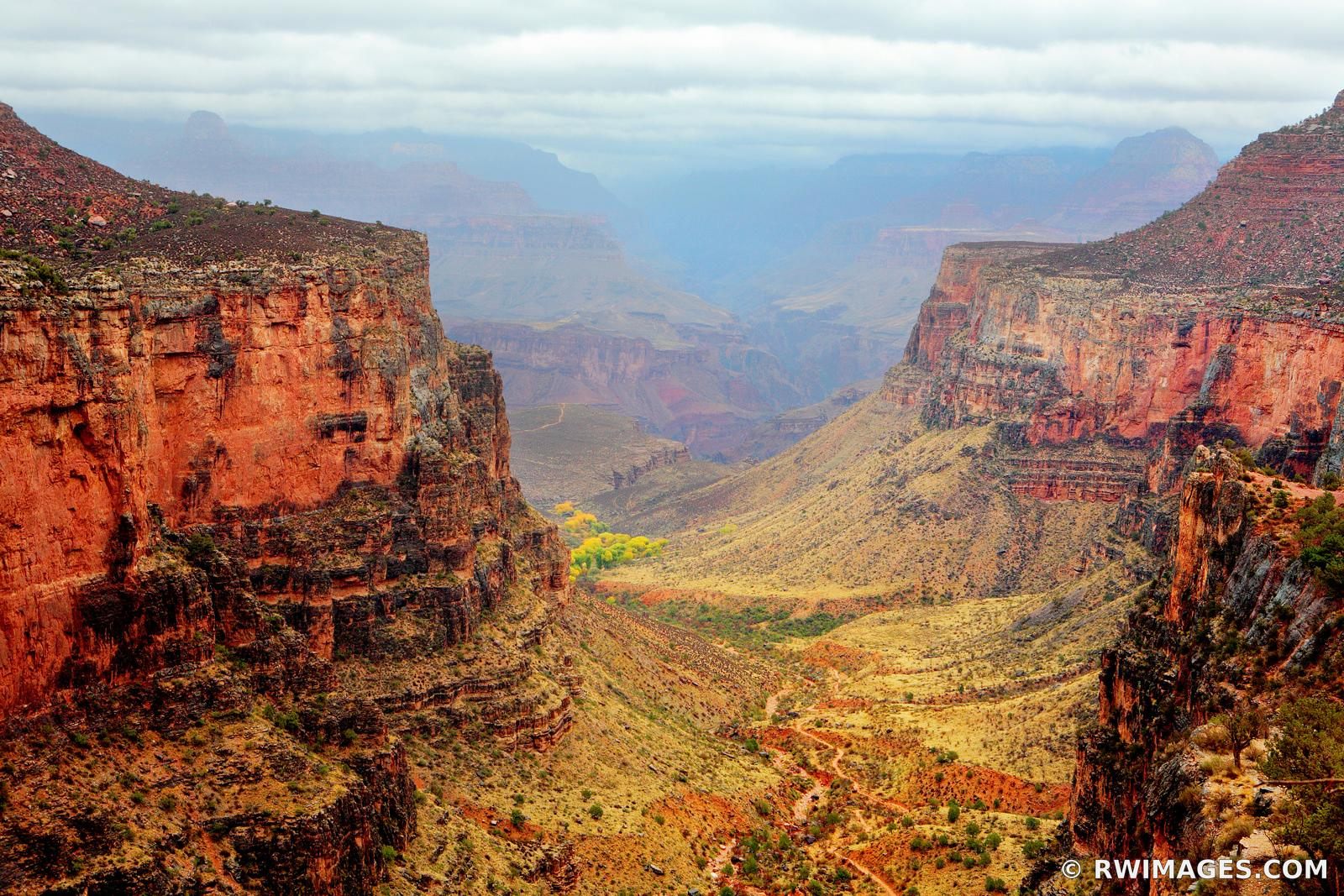 BRIGHT ANGEL TRAIL AND INDIAN GARDENS GRAND CANYON ARIZONA AMERICAN SOUTHWEST LANDSCAPE