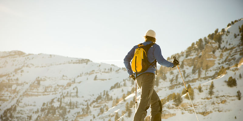 Backcountry skiing above Aspen Grove, Mt. Timpanogos, UT