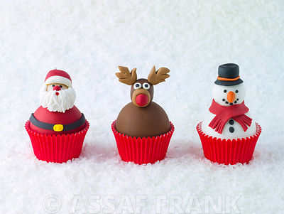 Beautifully decorated Christmas cupcakes on snow