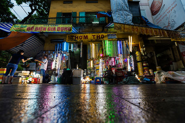 Light Reflections on Wet Street