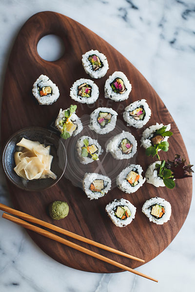 Sushi with pickled vegetables.